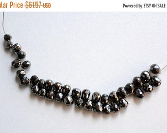 50% DISCOUNT Faceted Black Diamond Tear Drops - Faceted Diamond Beads - 3mm To 5mm Approx, 2 Pieces