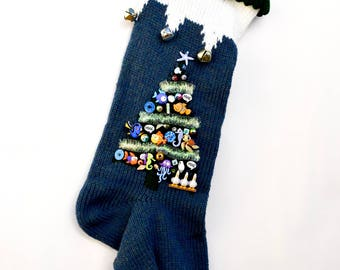 Knitted Christmas Stocking Personalized Blue Finding Nemo