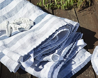 Stonewashed BATH striped linen towel - Thick Bath soft linen towels - Pure white with blue stripes towel - Very practical linen towels