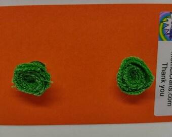 Green Jean Rose Post Earrings