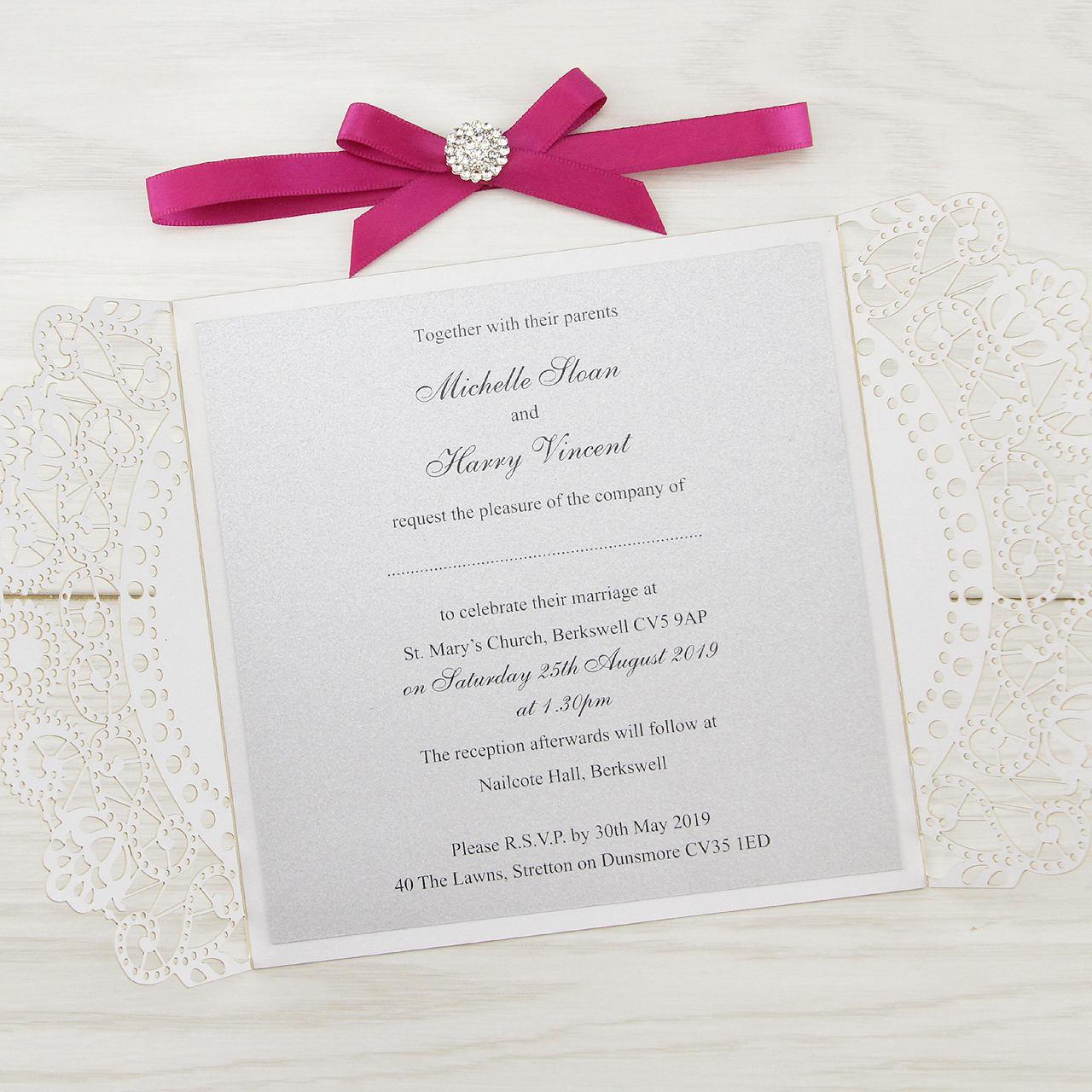 SAMPLE * Doily Laser Cut Wedding Invitation with Diamante Cluster ...