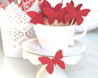 10 décorations pour petits gâteaux (cupcakes toppers ) -papillons rouges