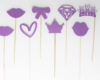 Set of 8 princess birthday Photobooth accessories - purple