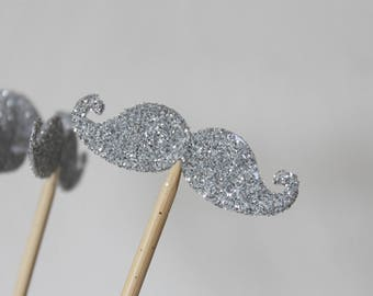10 kebabs silver mustache glitter photobooth for wedding or anniversary