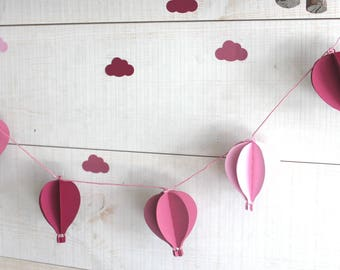 6 hot air balloon Garland to decorate a nursery or a baby shower - pink