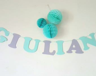 Garland name paper coated cotton - 3 to 8 letters + 2 items - theme - Indian arrows and feathers