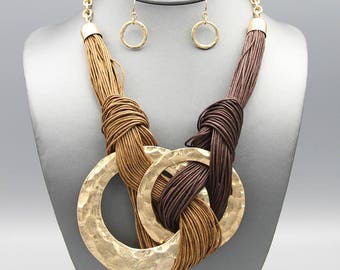 Two Toned Brown with Gold Hammered Double Ring Pendant Bib Knotted Cord Necklace Earring Fashion Jewelry Set