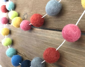Rainbow Felt Ball Garland- Pom Pom Garland- Nursery, Party, Girl Boy Room Decor