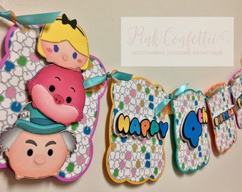 Disney Tsum Tsum Birthday Banner /  Tsum Tsum name banner / Tsum Tsum Party