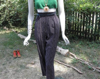 Vintage High Waist Black and White Floral Pants