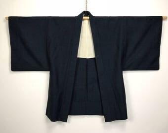 D954 Vintage Japanese Mens Haori Kimono Wool Cardigan Jacket Blue