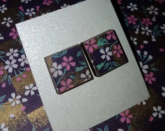 Japanese floral wooden stud earrings - Japanese Yuzen paper wooden square stud earrings