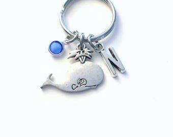 Whale Keychain, Gift for Teenage Girl Key Chain, Marine Animal keyring, Initial Birthstone present women her him Teen Girl Teenager beach