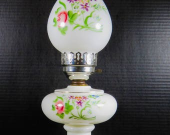 """Vintage 19"""" Milk Glass Table Lamp Hurricane Style Floral Flowers"""