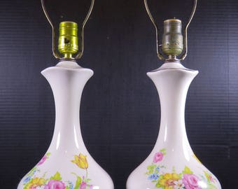 "Vintage Pair 21"" Table Lamps Ceramic Floral Bedroom Entry Living Room"