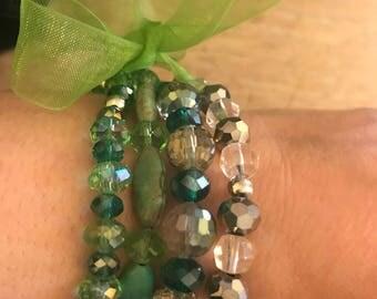 Set of 4 Green Beaded Bracelets