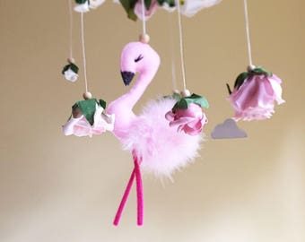 Baby floral flamingo mobile- nursery floral mobile- flamingo crib mobile- flower chandelier- baby girl mobile- floral chandelier- flamingo