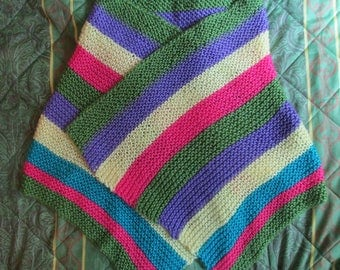 Hand Knit Rainbow Scarf or Shawl