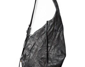 Leather bag - 007Y - black