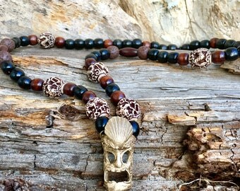 gift for men, Tiki necklace, Tiki jewelry, gift for him, monster necklace, Wood beads, Lava bead necklace,  mens necklace, womans necklace,