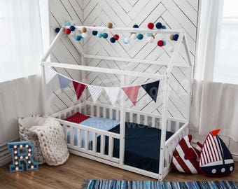 Children bed CRIB SIZE, solid wood bed, toddler bed, frame bed, waldorf home bed, teepee, play tent, baby room nursery, montessori toy, gift