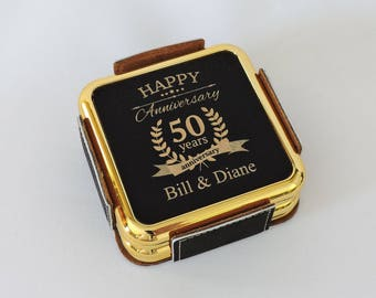 50th Anniversary Gift- Black and Gold Coaster Set- Golden Anniversary Present