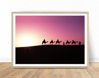 Caravan Print, Pink Sunset Print, Desert Wall Decor, Desert Art, Desert Decor, Printable Poster, Digital Print, Digital Download