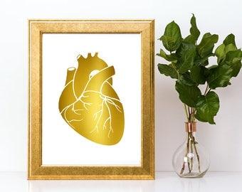 Gold foil print,Human heart wall art,gold foil, foil print,gold foil wall art,gold foil art,foil art,human heart,human heart print
