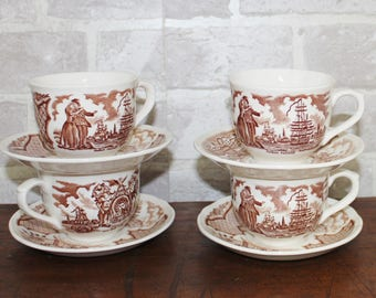 Brown Fair Winds cups and saucers set of 4, Alfred Meakin The Friendship of Salem Historical Scenes, Brown transferware dinnerware dishes
