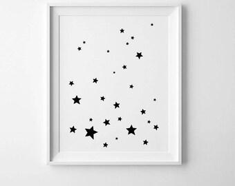 Minimalist kids art, Stars wall art poster, space nursery decor, Scandinavian print, minimalist print, space nursery print, kids room decor