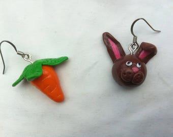 Earrings rabbit carrot