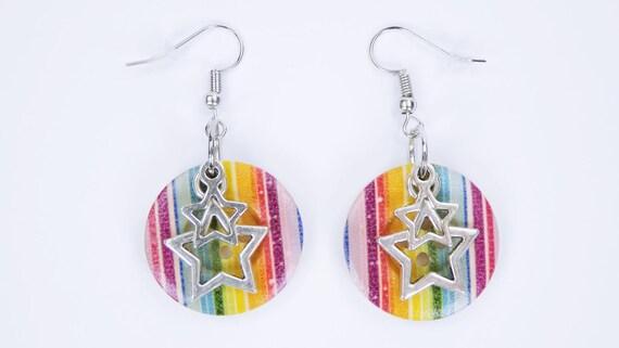 Earrings Stars Colorful Party earrings-pendant earrings with silver-colored studs earrings