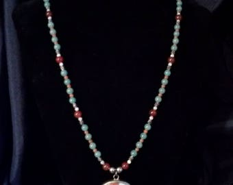 Gemstone necklace with 100 to 300 yr. old Chinese potschard.