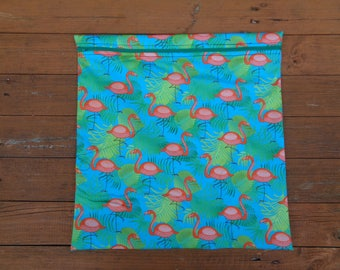 Pretty Flamingo Fabric Mega Poppins Waterproof Lined Zip Pouch - Sandwich bag - Eco - Snack Bag - Bikini Bag - Lunch Bag - Swim Bag