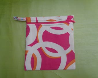 Pink White Swirl Medium Poppins Waterproof Lined Zip Pouch - Sandwich bag - Eco - Snack Bag - Bikini Bag - Lunch Bag - Tool Bag - Zero Waste