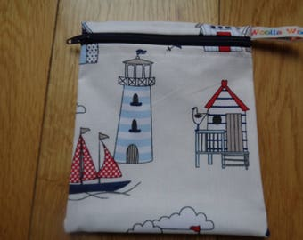 Snack Bag - Bikini Bag - Lunch Bag - Make Up Bag Small Poppins Waterproof Lined Zip Pouch - Sandwich bag  Eco - Beach Hut Lighthouse Seaside
