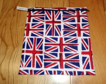 Sandwich bag  - Baggie - Eco - Snack Bag - Bikini Bag - Lunch Bag - Tool Bag - Large Poppins Waterproof Lined Zip Pouch - Union Jack Flag