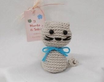 Kitty amigurumi curly tail, cotton, crochet.