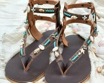 SALE Boho Leather Sandals, Gladiator Sandals, Bohemian Sandals, Festival Sandals, Greek Sandals, Pom Pom Sandals, Summer Sandals