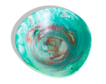 Large Fruit Bowl, Resin Decor, Modern Art, Gift for Her, Gift for Him, Contemporary Homewares, Teal and Rust, Earthy Tones, Decorative Bowl