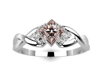 White Gold Morganite Engagement Ring Gold Morganite Ring White Gold Engagement Ring 14k Morganite Engagement Ring Morganite Ring