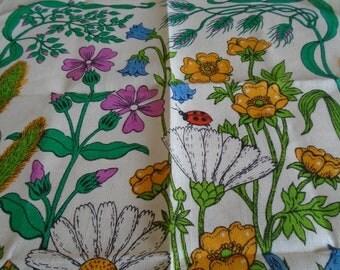 wild flower vintage m & S tea towel unused condition
