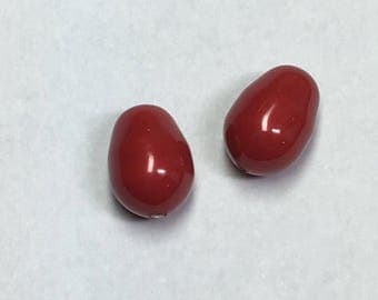 Swarovski pear pearl 11 x 8 mm, red coral, 2 pieces