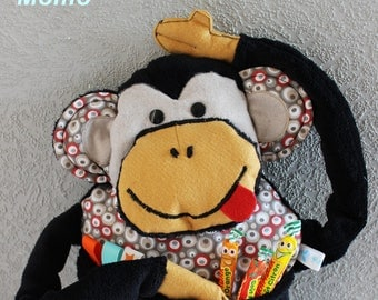 "Monkey the ""Momo"" soft minky fabric and black. height 60 cm."