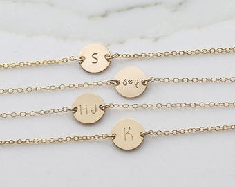 Gold Initial Disc Necklace, Bridesmaid's Gift, Wedding Gift, Engraved Initial Disk Necklace (  HCN 11.14 )
