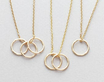 Circle Necklace / Karma Necklace / Minimal Karma Necklace in Gold Fill and Sterling Silver / Friendship Necklace / Wedding gift