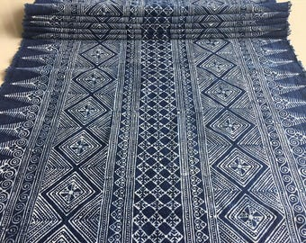 BIG SALE !!! 22 inch wide Handwoven Hmong cotton Indigo Batik fabric,vintage style cotton textiles and indigo fabrics ,Table runner,etc,DIY