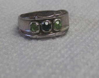 Sterling Silver Stamped Ring with Green Stones