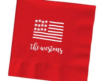 Personalized Party Napkins for July 4th, Memorial Day, Labor Day BBQ