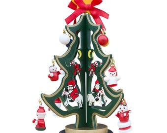 """6.5"""" Wooden Tabletop Christmas Tree with Santa, Snowman Miniature Wooden Ornaments"""